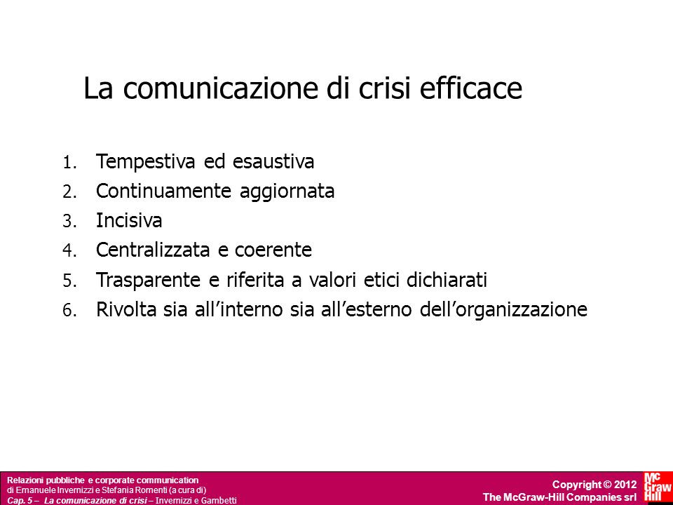 La comunicazione di crisi efficace