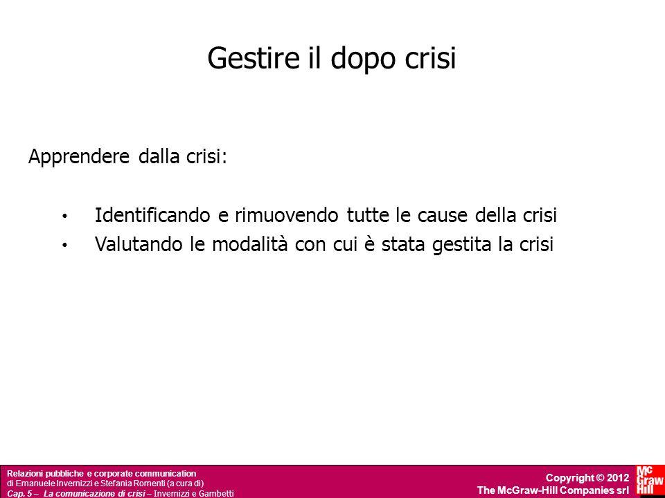 Gestire il dopo crisi Apprendere dalla crisi: