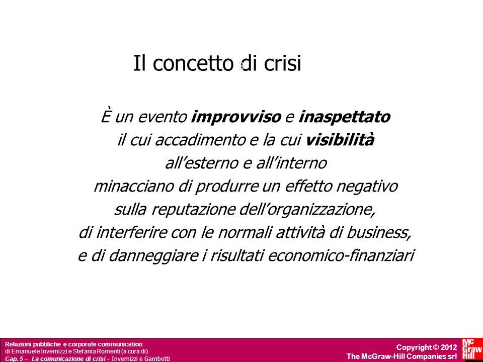 Il concetto di crisi È un evento improvviso e inaspettato