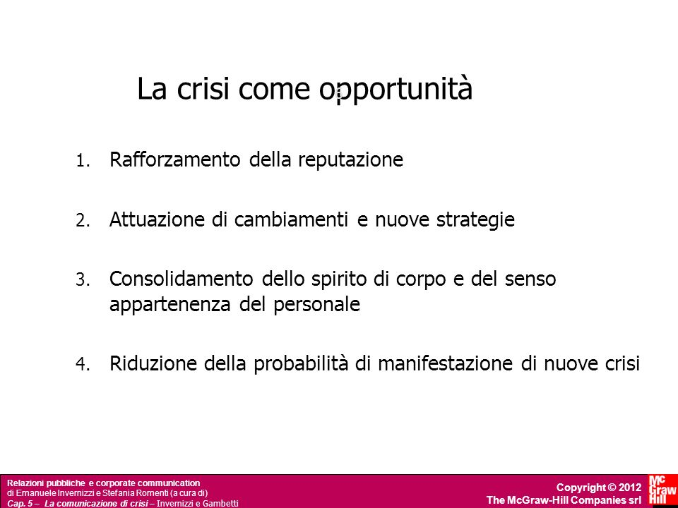 La crisi come opportunità