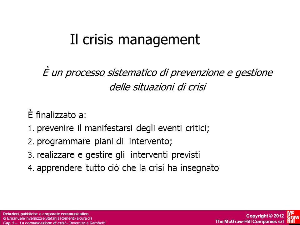 Il crisis management È un processo sistematico di prevenzione e gestione. delle situazioni di crisi.