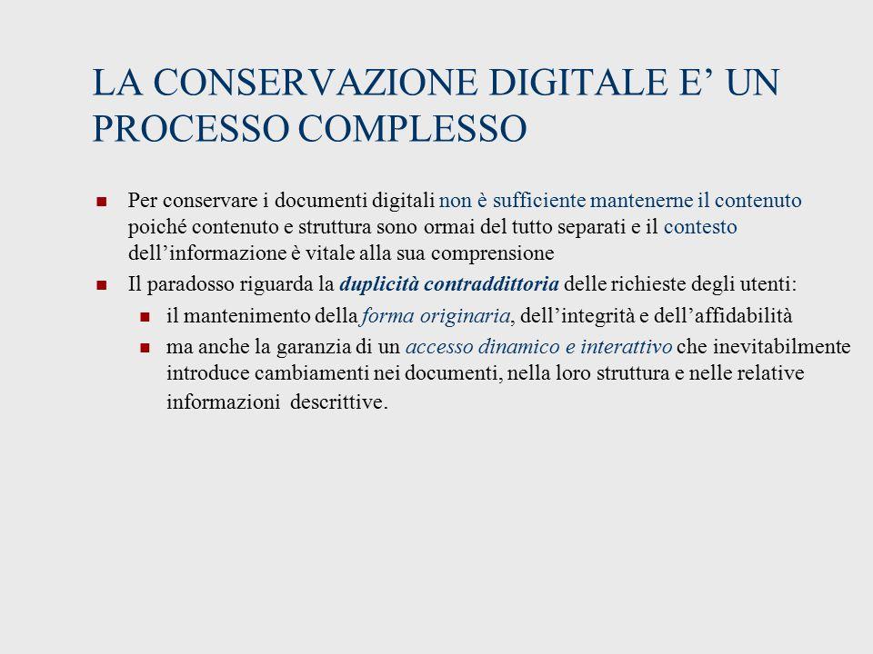 LA CONSERVAZIONE DIGITALE E' UN PROCESSO COMPLESSO
