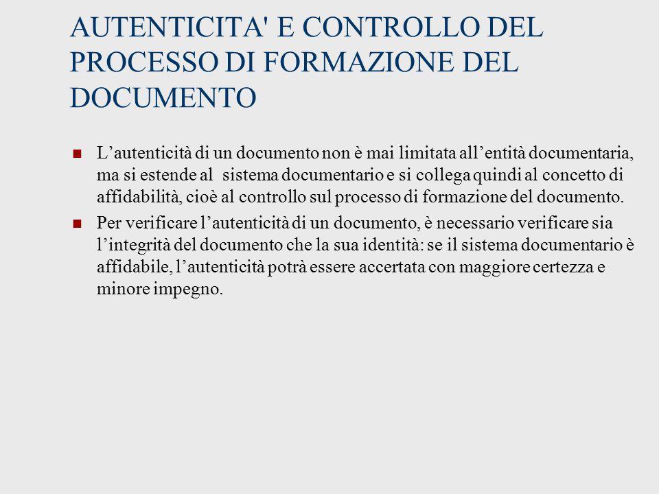 AUTENTICITA E CONTROLLO DEL PROCESSO DI FORMAZIONE DEL DOCUMENTO