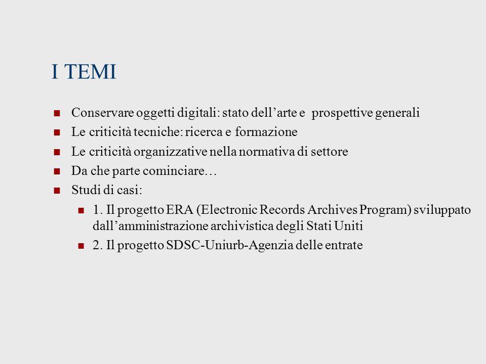 I TEMI Conservare oggetti digitali: stato dell'arte e prospettive generali. Le criticità tecniche: ricerca e formazione.