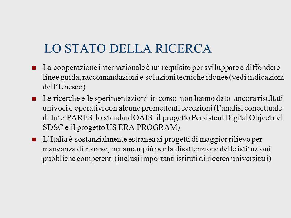 LO STATO DELLA RICERCA