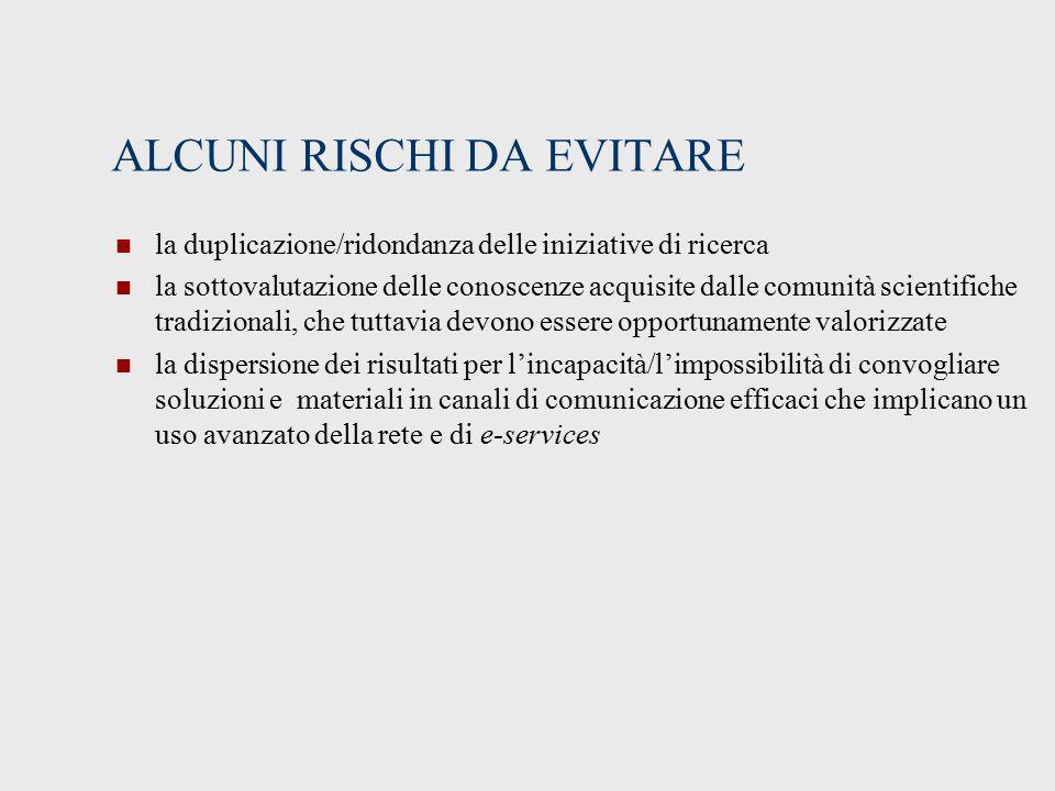 ALCUNI RISCHI DA EVITARE