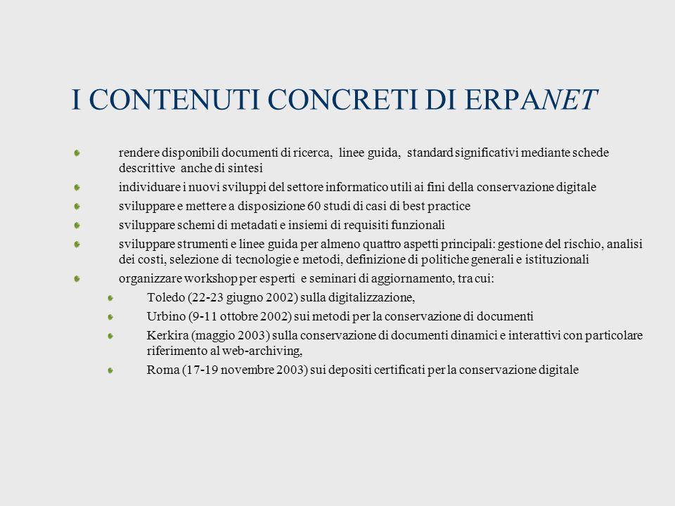 I CONTENUTI CONCRETI DI ERPANET