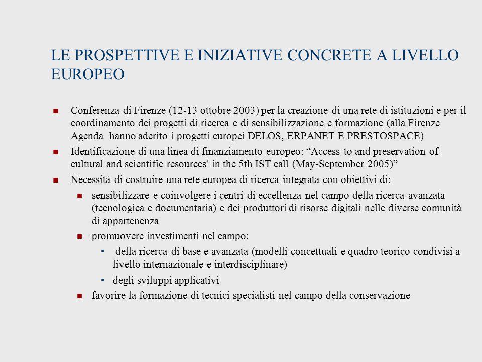 LE PROSPETTIVE E INIZIATIVE CONCRETE A LIVELLO EUROPEO