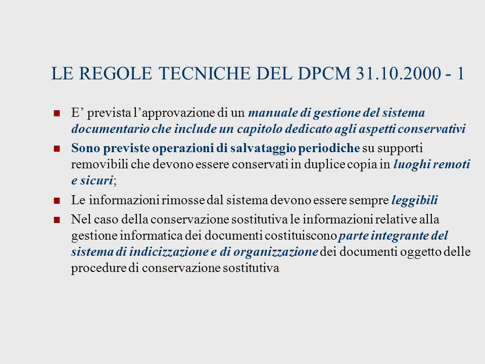 LE REGOLE TECNICHE DEL DPCM 31.10.2000 - 1