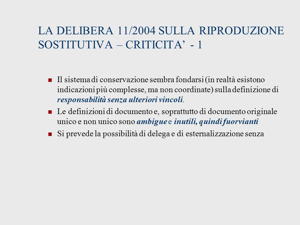 LA DELIBERA 11/2004 SULLA RIPRODUZIONE SOSTITUTIVA – CRITICITA' - 1