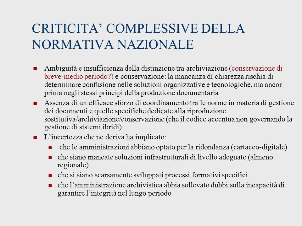 CRITICITA' COMPLESSIVE DELLA NORMATIVA NAZIONALE