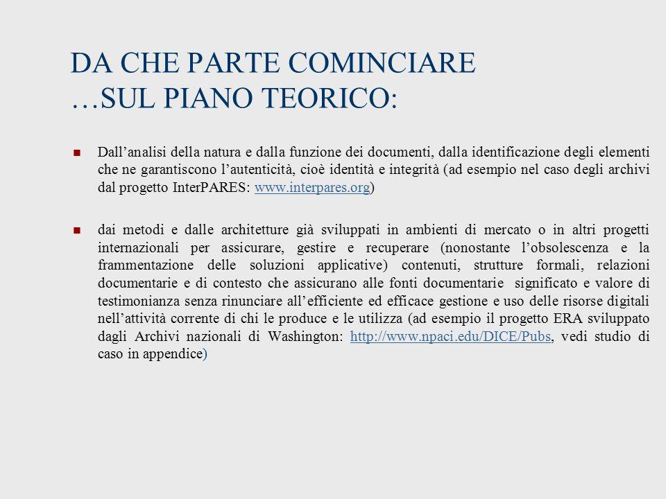 DA CHE PARTE COMINCIARE …SUL PIANO TEORICO:
