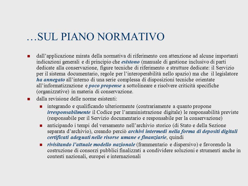 …SUL PIANO NORMATIVO