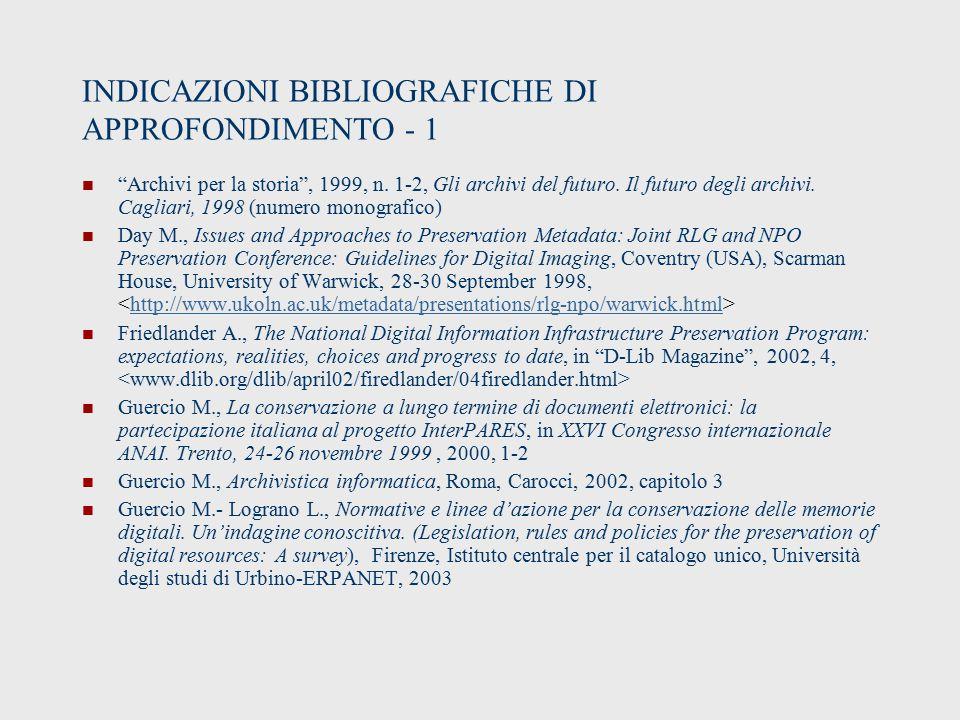 INDICAZIONI BIBLIOGRAFICHE DI APPROFONDIMENTO - 1