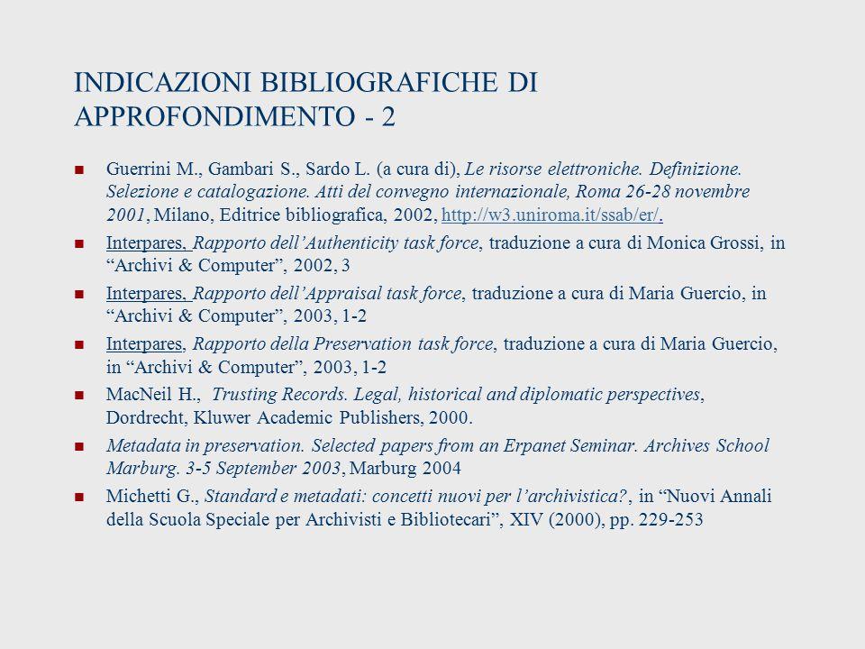 INDICAZIONI BIBLIOGRAFICHE DI APPROFONDIMENTO - 2