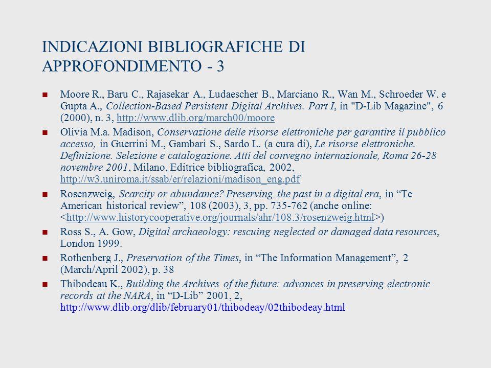 INDICAZIONI BIBLIOGRAFICHE DI APPROFONDIMENTO - 3