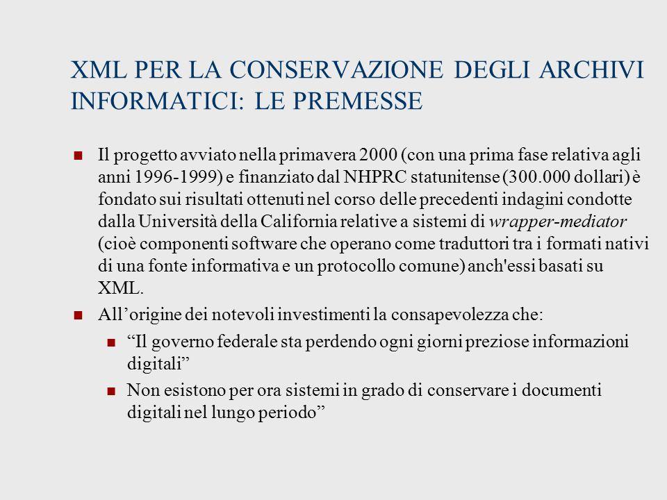 XML PER LA CONSERVAZIONE DEGLI ARCHIVI INFORMATICI: LE PREMESSE