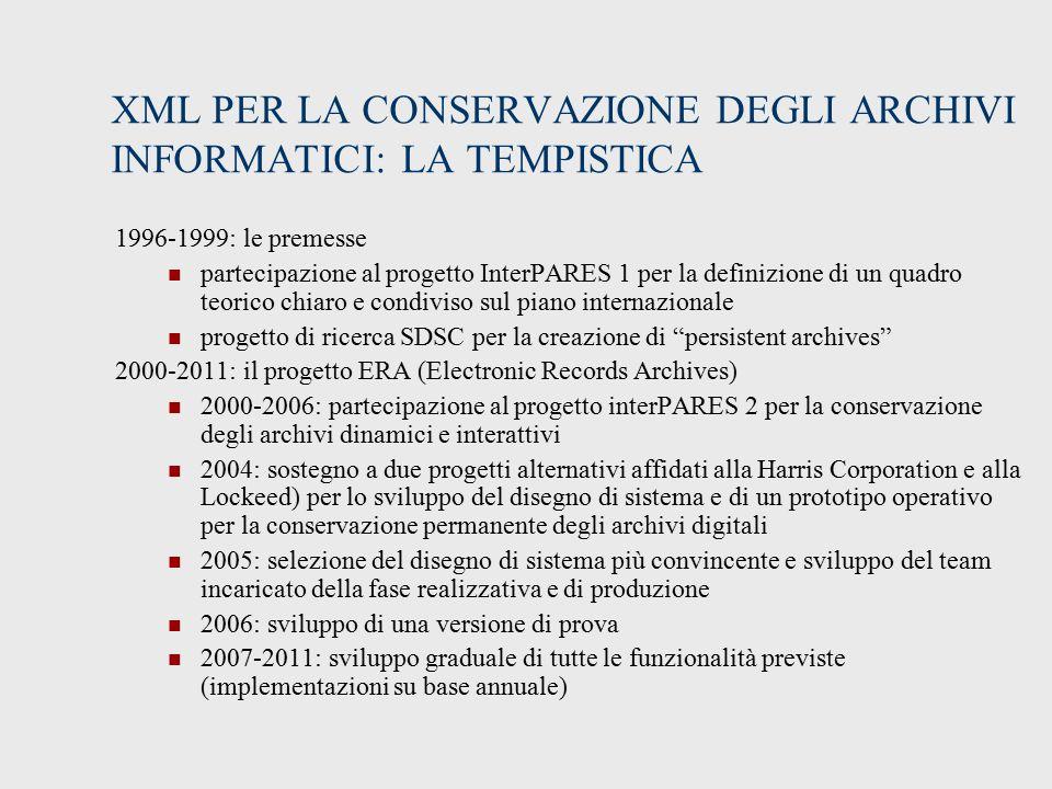 XML PER LA CONSERVAZIONE DEGLI ARCHIVI INFORMATICI: LA TEMPISTICA