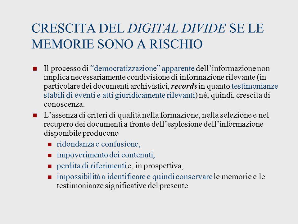 CRESCITA DEL DIGITAL DIVIDE SE LE MEMORIE SONO A RISCHIO