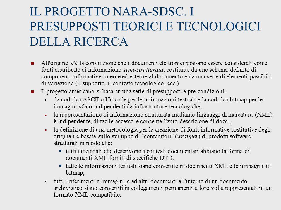 IL PROGETTO NARA-SDSC. I PRESUPPOSTI TEORICI E TECNOLOGICI DELLA RICERCA