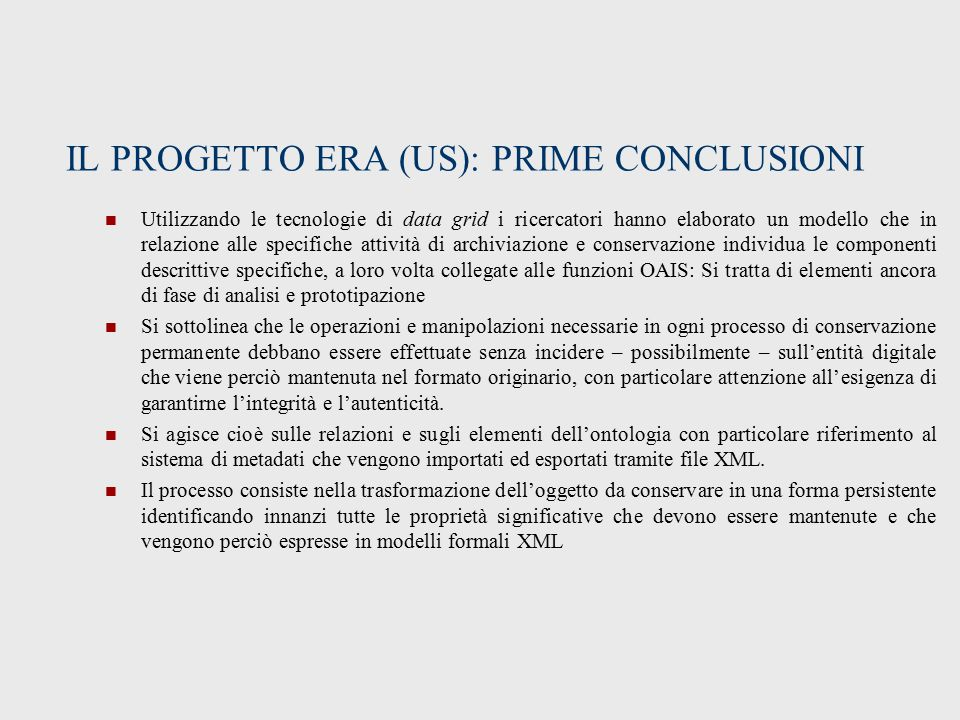 IL PROGETTO ERA (US): PRIME CONCLUSIONI