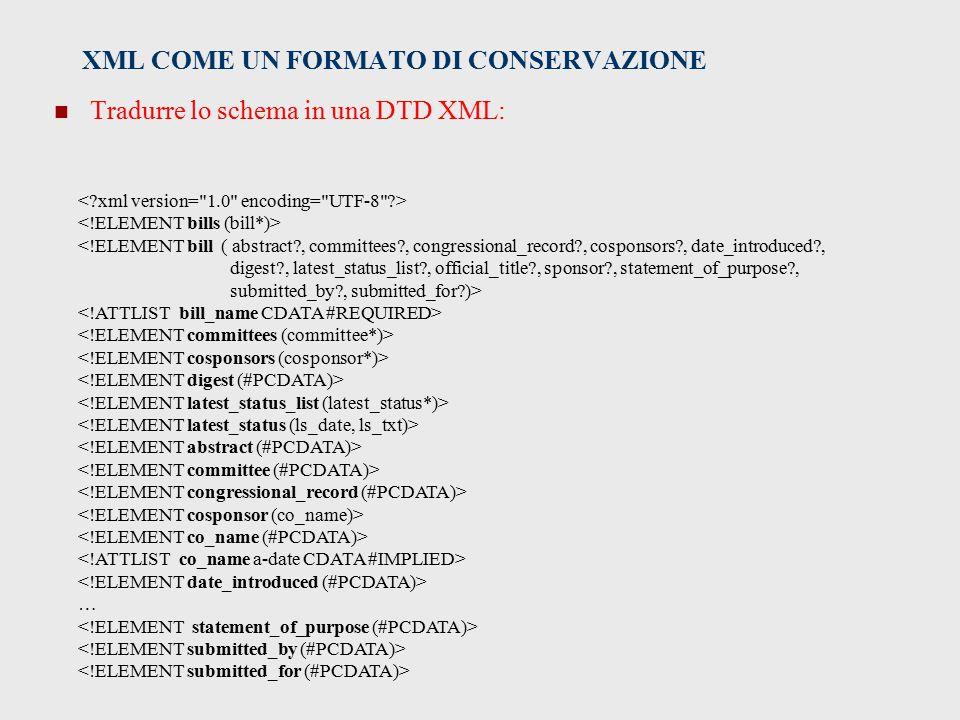 XML COME UN FORMATO DI CONSERVAZIONE