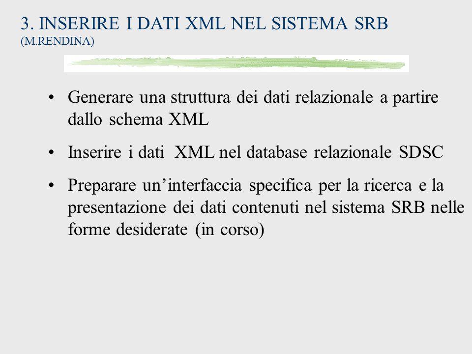 3. INSERIRE I DATI XML NEL SISTEMA SRB (M.RENDINA)