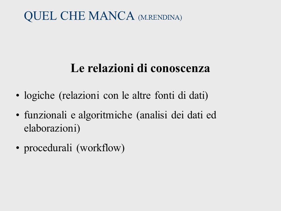 QUEL CHE MANCA (M.RENDINA)
