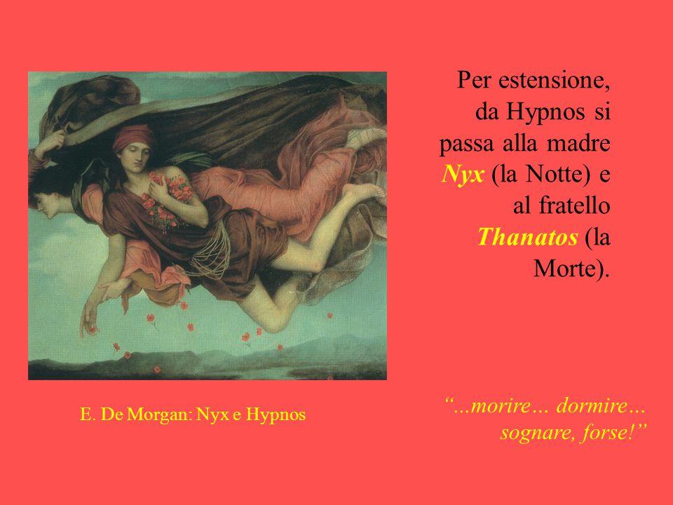 Per estensione, da Hypnos si passa alla madre Nyx (la Notte) e al fratello Thanatos (la Morte).