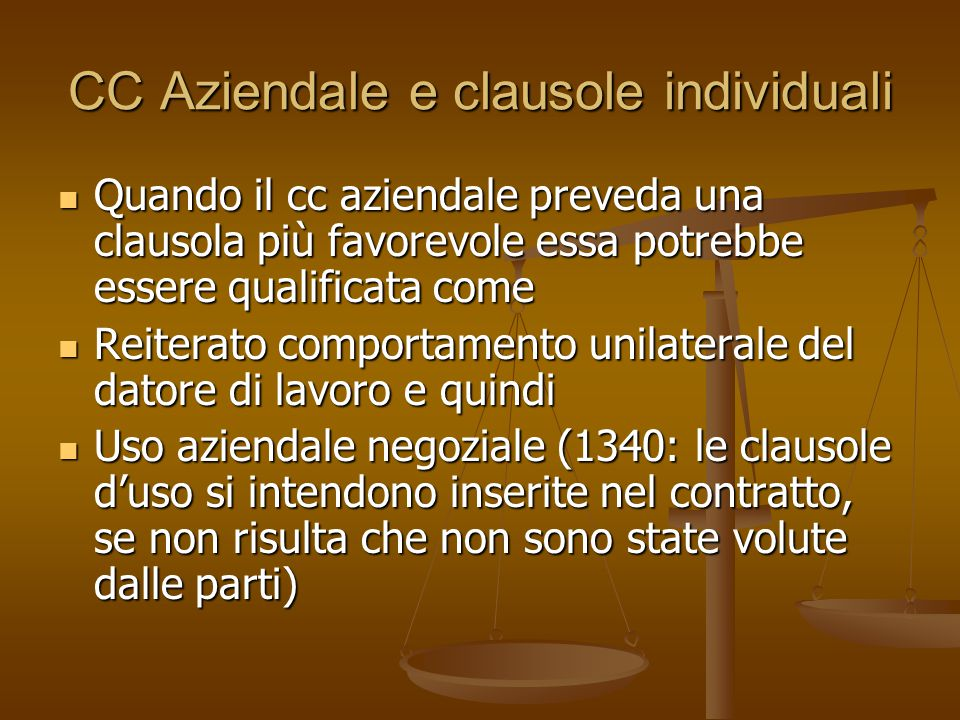 CC Aziendale e clausole individuali