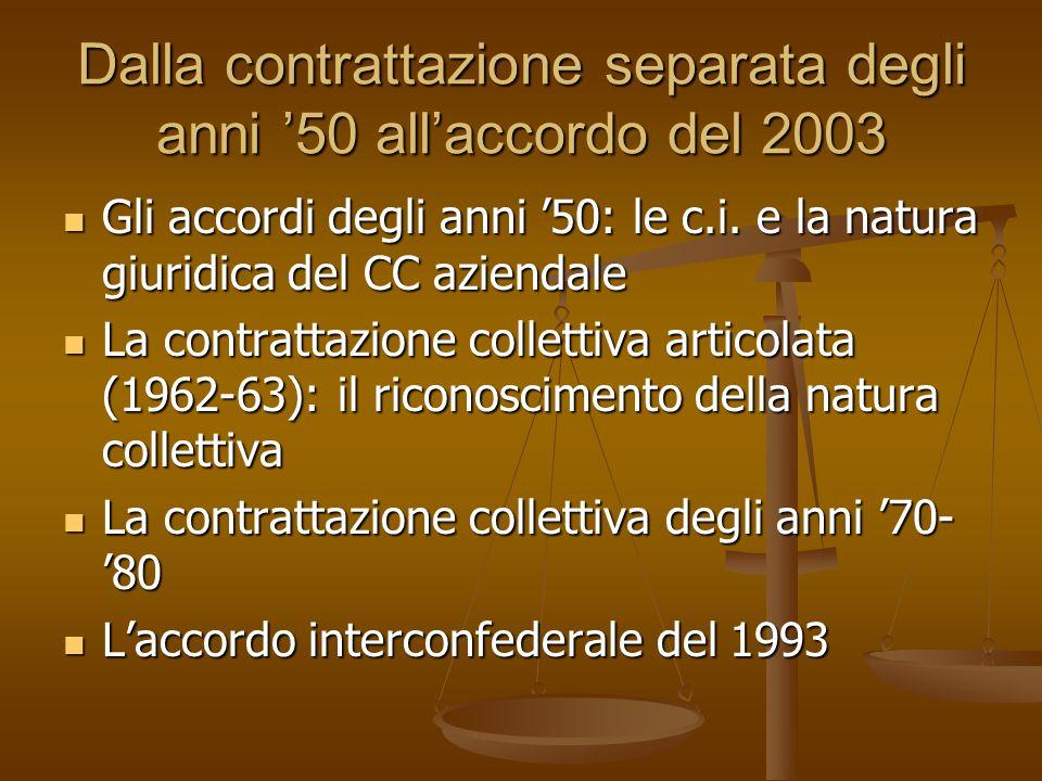 Dalla contrattazione separata degli anni '50 all'accordo del 2003