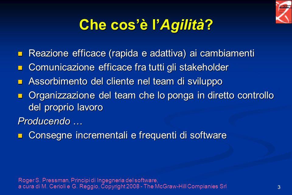 Che cos'è l'Agilità Reazione efficace (rapida e adattiva) ai cambiamenti. Comunicazione efficace fra tutti gli stakeholder.
