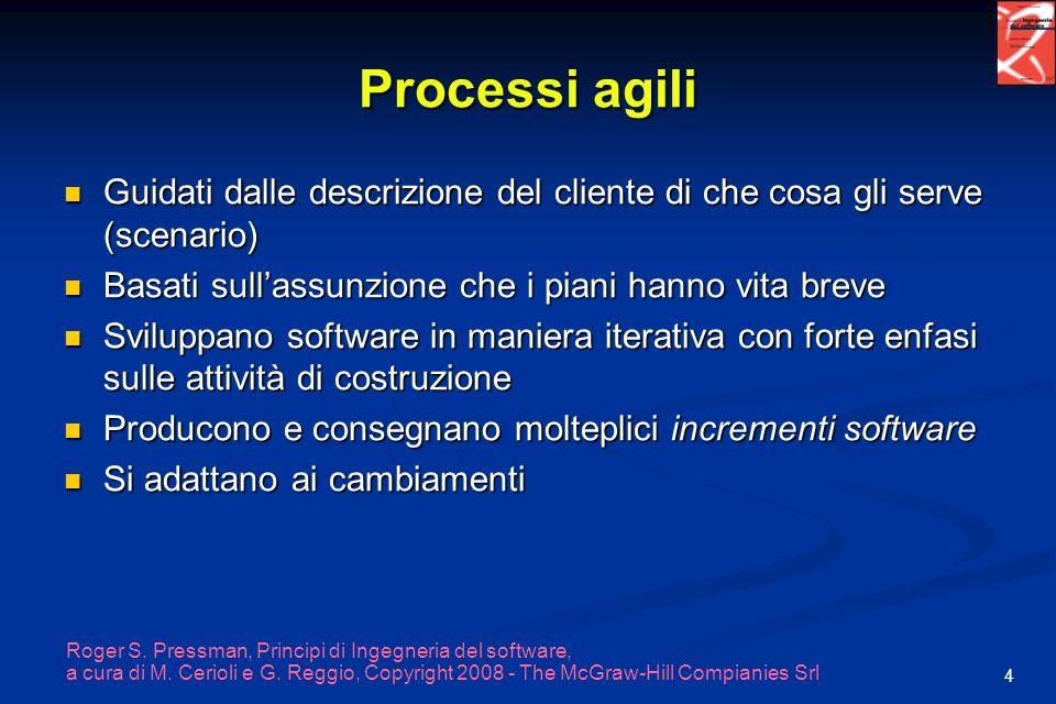 Processi agili Guidati dalle descrizione del cliente di che cosa gli serve (scenario) Basati sull'assunzione che i piani hanno vita breve.