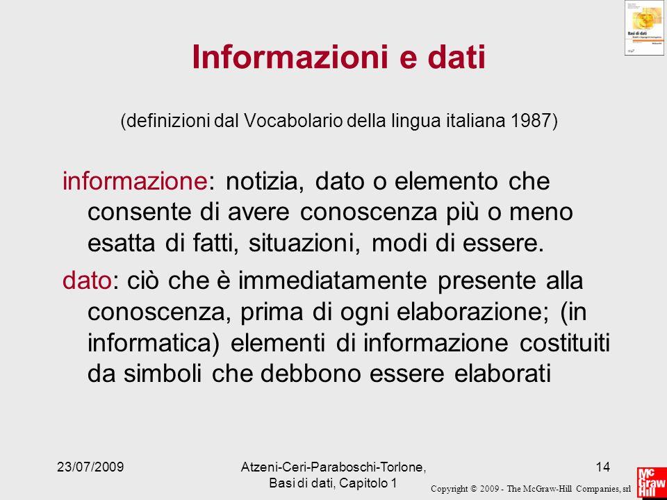 Informazioni e dati (definizioni dal Vocabolario della lingua italiana 1987)