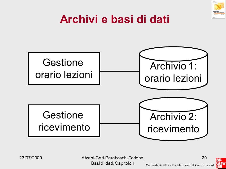 Archivi e basi di dati Archivio 1: orario lezioni