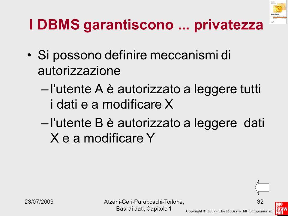 I DBMS garantiscono ... privatezza