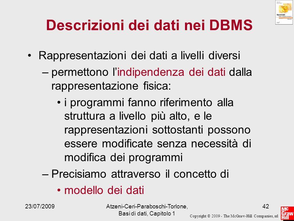 Descrizioni dei dati nei DBMS