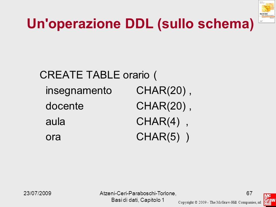 Un operazione DDL (sullo schema)