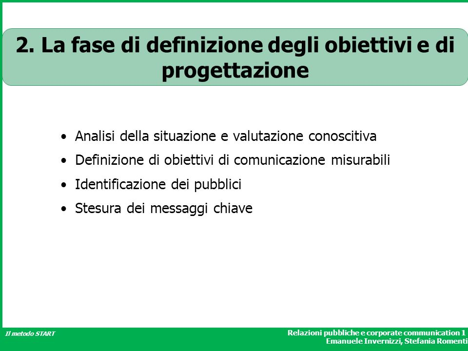 2. La fase di definizione degli obiettivi e di progettazione