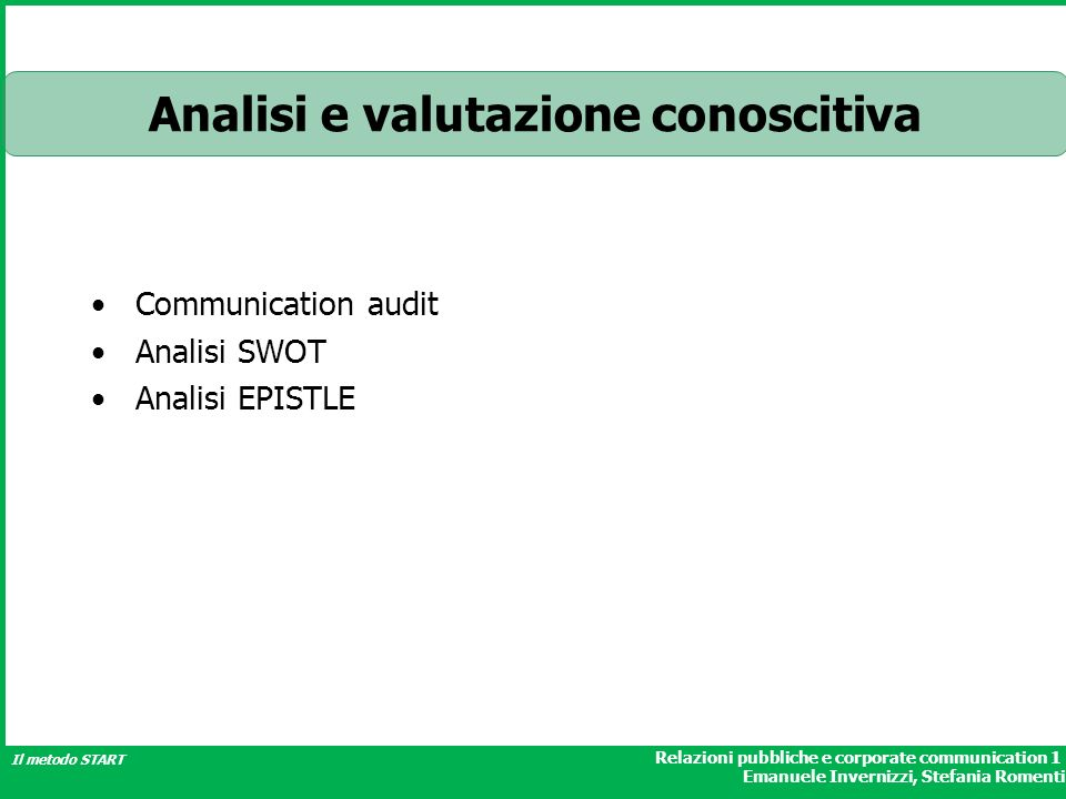 Analisi e valutazione conoscitiva