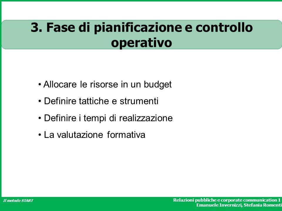 3. Fase di pianificazione e controllo operativo