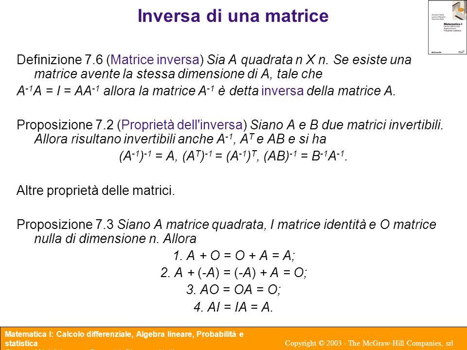 (A-1)-1 = A, (AT)-1 = (A-1)T, (AB)-1 = B-1A-1.