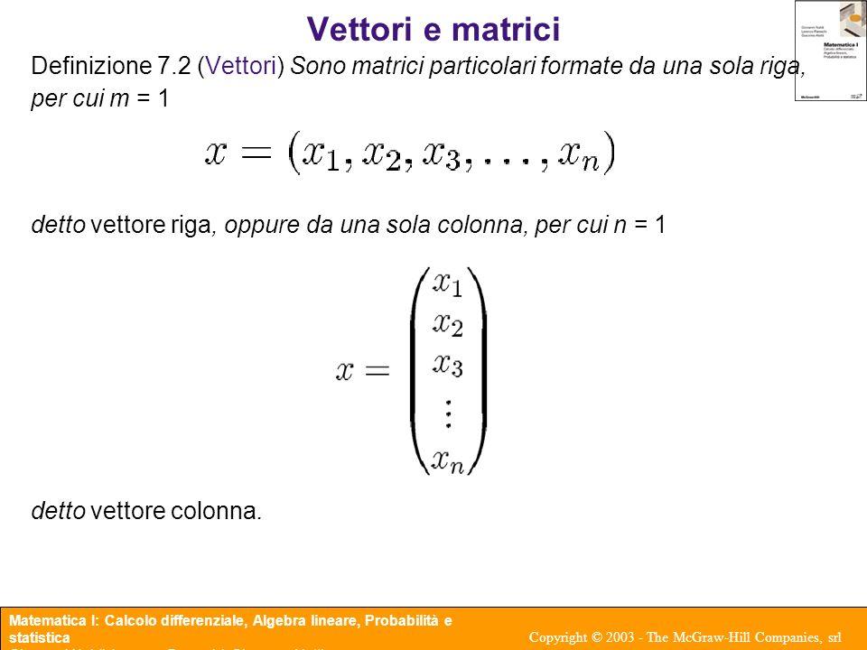 Vettori e matrici Definizione 7.2 (Vettori) Sono matrici particolari formate da una sola riga, per cui m = 1.