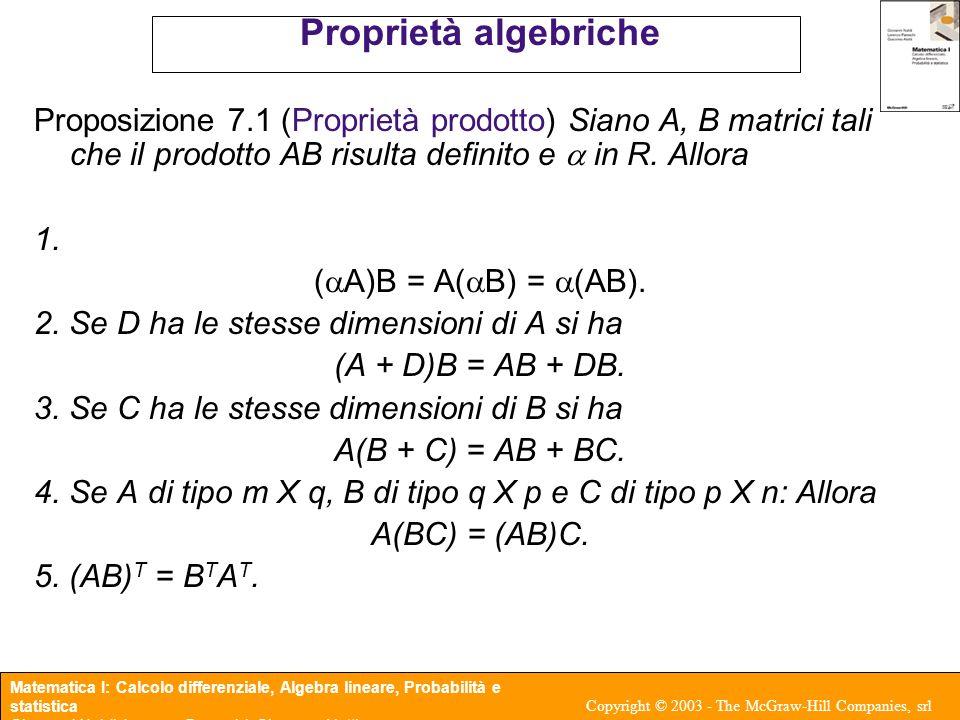 Proprietà algebriche Proposizione 7.1 (Proprietà prodotto) Siano A, B matrici tali che il prodotto AB risulta definito e a in R. Allora.
