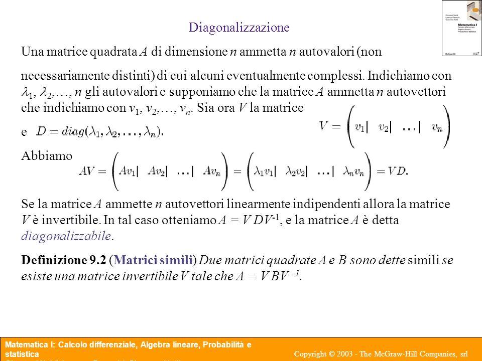 Diagonalizzazione Una matrice quadrata A di dimensione n ammetta n autovalori (non.