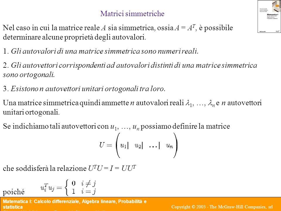 Matrici simmetriche Nel caso in cui la matrice reale A sia simmetrica, ossia A = AT, è possibile determinare alcune proprietà degli autovalori.