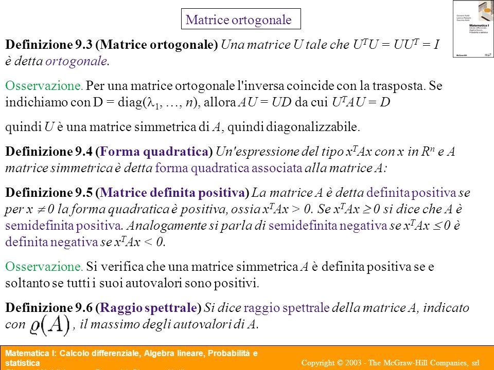Matrice ortogonale Definizione 9.3 (Matrice ortogonale) Una matrice U tale che UTU = UUT = I è detta ortogonale.