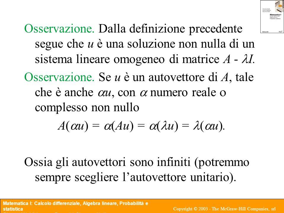 A(au) = a(Au) = a(u) = (au).