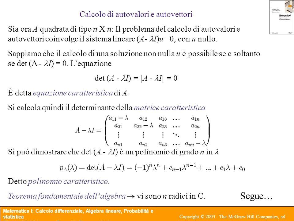 Calcolo di autovalori e autovettori