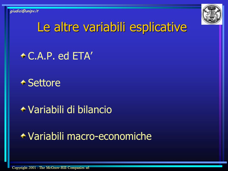 Le altre variabili esplicative